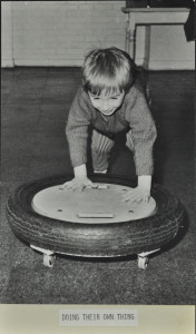 Tyre on wheels, c. 1975
