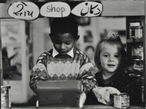 Playing shop, c. 1985