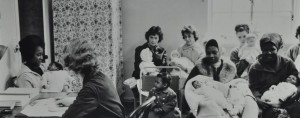Mothers and babies in waiting room, c. 1965