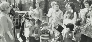 Children greet Queen Mother, 1973
